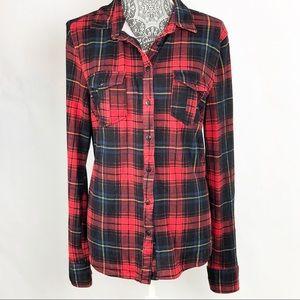 Anthropologie Flannel Plaid Button Down Shirt L